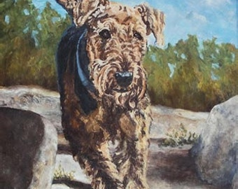 Airedale on canvas, giclee