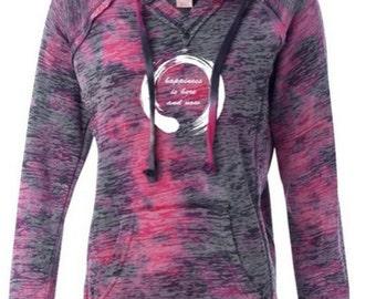 Ladies Zen Happiness Lightweight Hoodie Yoga Tee Shirt - W1162-HAPPINESS