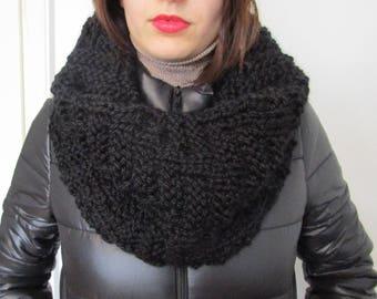 Chunky Knit Scarf, Cowl Black, Winter Shawl, Black Scarf Cowl