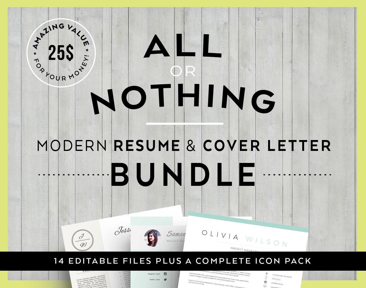 Value offer bundle modern resume cover letter template zoom spiritdancerdesigns Image collections