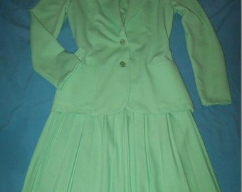 3 piece Set PYKETTES Mint Green Blazer Tank Top & Accordion Skirt Medium to Large? see measurements Vintage Suit Career Fashion Outfit