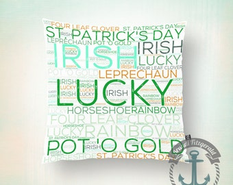 Throw Pillow | St Patrick's Day | Irish Typography Holiday Decor  | Size and Price via Dropdown