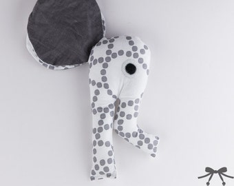 Elephant Rattle, Baby Rattle, Soft Rattle, Baby Toy, Baby's First Rattle, Rattle, Grey, White