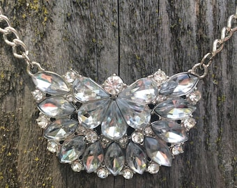 Gorgeous clear rhinestone cluster statement necklace
