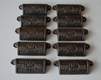 A set of 10 vintage style cast iron Royal Mail GPO drawer pulls GPO