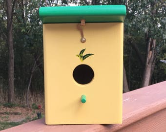 Spring Yellow and Green Handmade Wood Hanging Outdoor Birdhouse