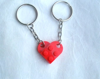 Couples heart keyrings