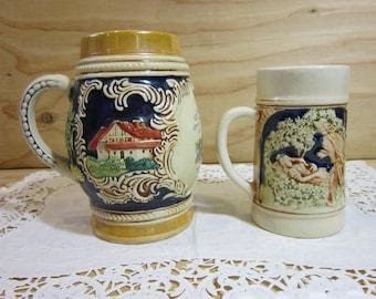 Set of 2 Vintage German Beer Steins * Vintage German Konigswinter Beer Stein 3056 * Kinder Series Stein