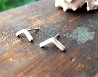 Small, geometric, chevron studs in sterling silver, made to order