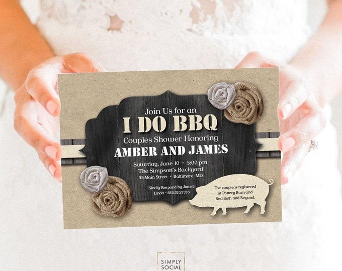 I Do BBQ Invitation Burlap and Kraft paper Barn Wood Pig Roast Couples Shower PRINTABLE