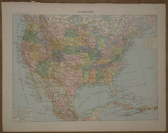 Antique USA map printed in France 1897-1904 with the States of America illustrated in color