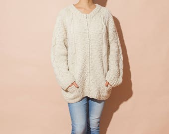 Vintage chunky oversized knit cardigan sweater, beige ivory, fits xs-m