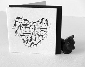 Chiot mignon amant carte, fête des mères, fêtes des pères, typographie, coeur chien noir, tous les jours de voeux carte, scottie, dashound, caniche, Carlin