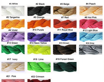 Complete Set of 21 Colors / Free Ship! 12.5 Meters / 13 Yards Of 2 mm Nylon Cord for Shamballa Bracelet, Jewelry & Crafts