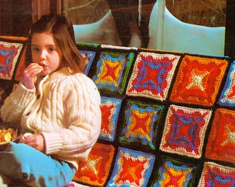 Square Colors Afghan- Vintage Crochet Blanket Pattern, Retro Throw, Couch Decor, PDF InStAnT DoWnLoAd