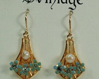 Vintage Blue Enamel Flower Earrings, Vintage Freshwater Pearl Drop Earrings, Romantic Sweetheart Earrings for Her, Flower Earrings Under 25