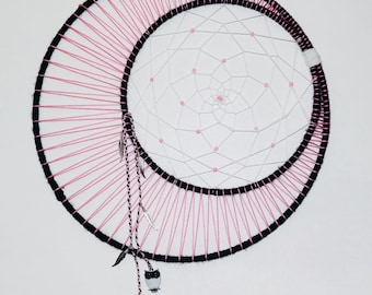 Black White And Pink Moon Dreamcatcher