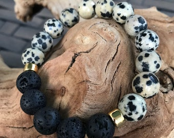 Dalmation Jasper with Lava stones