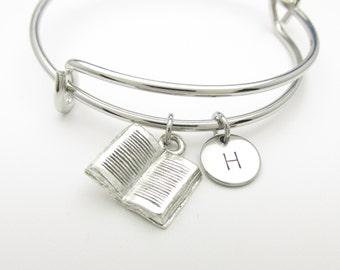 Book Charm Bangle, Open Book Bangle Bracelet, Silver Book Charm, Adjustable Bangle, Personalized, Initial Bracelet, Expandable Bracelet K004