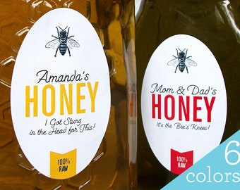 CUSTOM large OVAL Colorful Honey canning jar & bottle labels, personalized gift for backyard beekeeper, honey bee stickers for mason jars