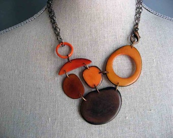 Shades of Orange and Brown Adjustable Length Necklace