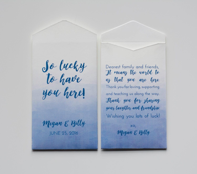 Custom Blue Lottery Ticket Wedding Favor Packet Envelopes