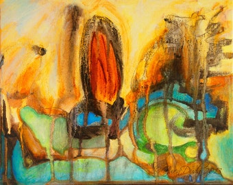 """Abstract Painting SFA Small Fine Art 8"""" x 10"""" Contemporary Modern Abstract Art Daily Painters a Painting a Day Art"""