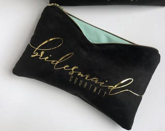 Personalized Gift. Bridesmaid Gift. Black Gold Suede Clutch Bag. Bridal Party Gifts. Custom Makeup Bags Be My Bridesmaid Wedding Party Gifts