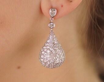 Bridal Wedding Earrings, Bridesmaid Earrings, Wedding Jewelry, Cubic Zirconia Earrings, Cubic Zirconia Jewelry, Teardrop Earrings