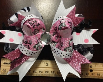 Cute Large Wildy Cute Polka Dot Pink Zebra Boutique Hair Bow