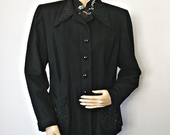 1940's Black Jacket Beaded Padded Shoulders Tapered Waist Tailored Button Front Size Medium