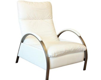 George Mulhauser for the Design Institute of America Chrome and Leather Reclining Lounge Chair