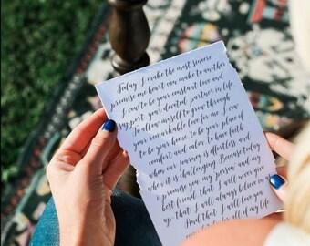 Custom Printed Vows