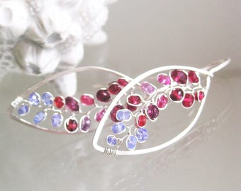 Twilight Sterling Hoops, Red and Purple Silver Leaf Hoop Earrings with Garnet, Sapphire, Tanzanite, Lightweight, Artisan Designed and Made