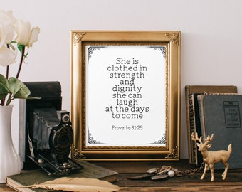 Proverbs 31:25 wall art, bible verse, she is clothed in strength and dignity, scripture print, Christian wall art decor, room decor BD-423