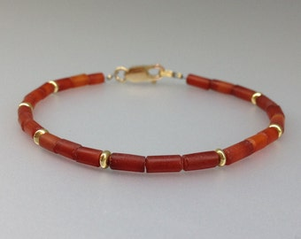 Fine Carnelian bracelet with gold plated elements and clasp - gift idea - warm orange with gold - elegant simplicity - genuine gemstone