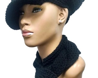 MADE TO ORDER Black Newsboy Hat Beret Beanie with brim strap silver buckle  free  crochet earrings (not pictured)  Scarf not included ee5b74602841