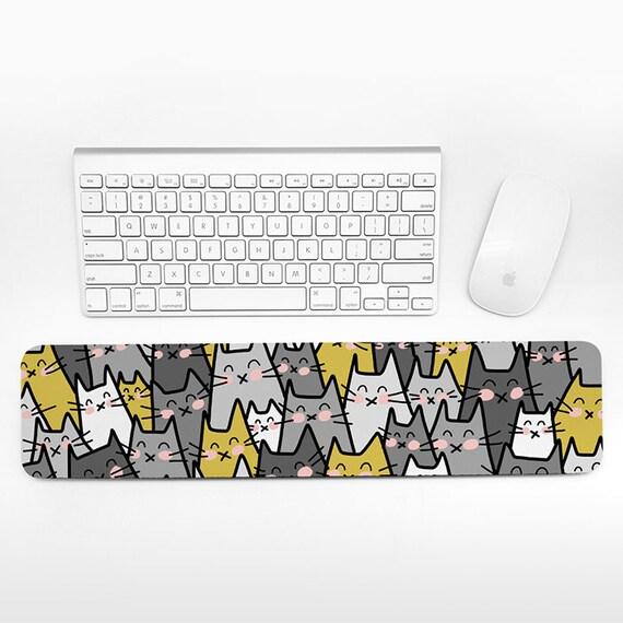 Cat Keyboard Wrist Rest Pad Mustard Yellow Gray Wrist Keyboard Pad, Wrist Pad for Keyboard Rest, Decor Office Desk Accessories for Men Women