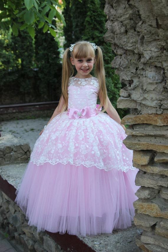 Lace flower girl dress birthday wedding party holiday lace flower girl dress birthday wedding party holiday bridesmaid ivory pink aqua blue lilac pink bright yellow lace flower dress 13 001 mightylinksfo Gallery