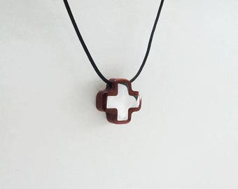 Perfect Gift PENDANT CROSS Wooden High quality Handmade Jewelry by Silver 925 and Rosewood or Ebony Wood