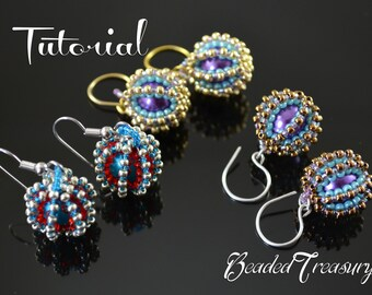 Beaded Delights - beadwoven earrings tutorial / Beading tutorial / Earring pattern / Beaded bead / Seed beads pattern / TUTORIAL ONLY