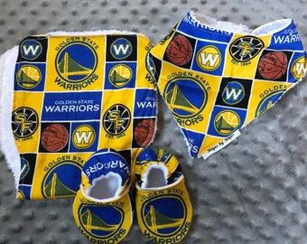 Golden State Warriors Bandana Bib, Burp Cloth and Crib Shoes