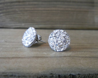 Bright Silver Sparkle Druzy Earrings - 12mm on Stainless Steel Posts.