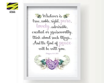 Philippians, Bible Verse Poster, Christian, Faith, Wall Art, Whatever is true, Whatever is lovely, Philippians 4:8, Printable, Digital