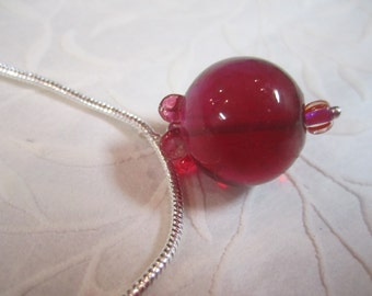 Pomegranate - Winter's Fruit necklace of handmade lampwork glass bead for sacred adornment for teen, girl, rite of passage, menarche, nature