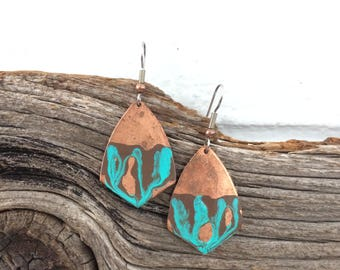 Hammered Copper Geometric Earrings with Patina Metal Paint