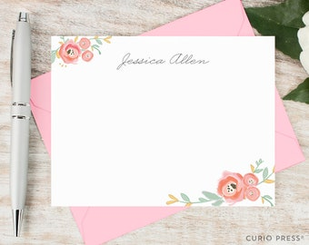 Personalized Stationary Set / Watercolor Personalized Stationery / Custom Note Cards / Pink Floral Notecard Set // WATERCOLOR FLORALS