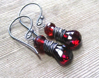 Natural Garnet Earrings,  AAA Mozambique Garnet Burgandy Dangle Earrings,  Sterling Silver,  January Birthstone