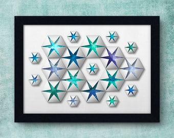 Geometric Art Print, Hexagon Wall Decor, Geometric Wall Art, Hexagons Paper Cut Effect, Custom Colours Art Print, Geometric Print