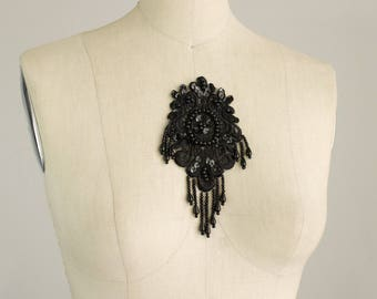 Black Beaded And Sequin Fringe Applique / Medallion / Oval / Vintage Flapper Style / Bridal / Wedding Dress Trim / IVORY Available